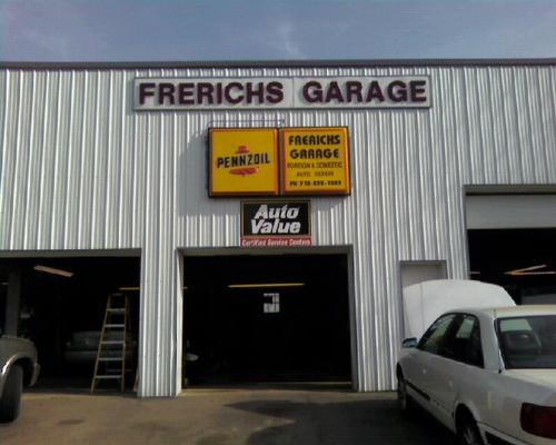 Frerichs Garage storefront. Your local The Merrill Co. in Sioux City, IA.