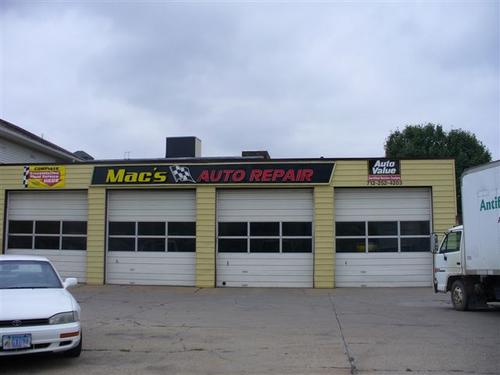 Mac's Auto Repair storefront. Your local The Merrill Co. in Sioux City, IA.