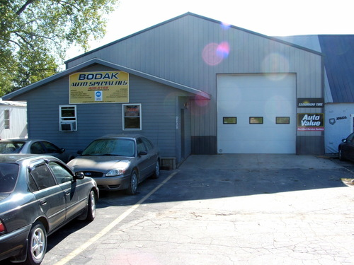 Bodak Auto Specialties storefront. Your local The Merrill Co. in Central City, IA.