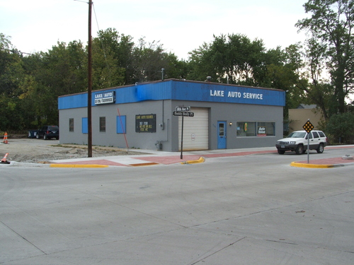 Lake Auto Service storefront. Your local The Merrill Co. in Clear Lake, IA.