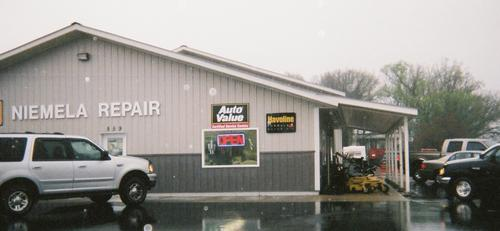 Niemela Repair storefront. Your local AutoParts HeadQuarters, Inc in New York Millls, MN.