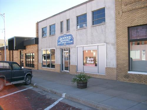 Jarecke Motors storefront. Your local The Merrill Co. in St. Paul, NE.