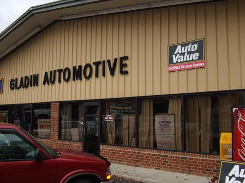 Gladin Automotive storefront. Your local Hahn Automotive Warehouse in Petersburg, VT.