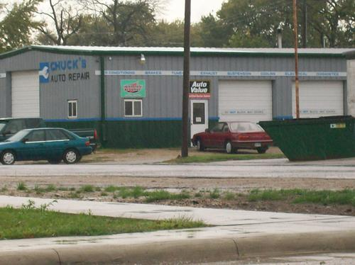 Chuck's Auto Repair storefront. Your local The Merrill Co. in Kanawha, IA.